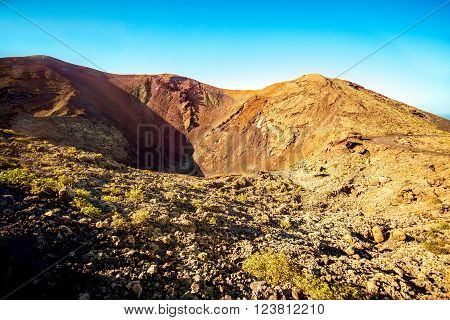 Volcanic landscape in Tmanfaya national park on Lanzarote island in Spain