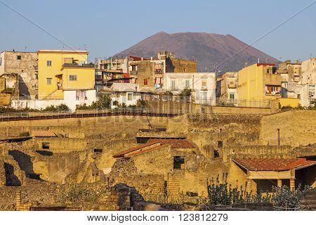 Ruins of Herculaneum and Mt Vesuvius. Ercolano Campania Italy