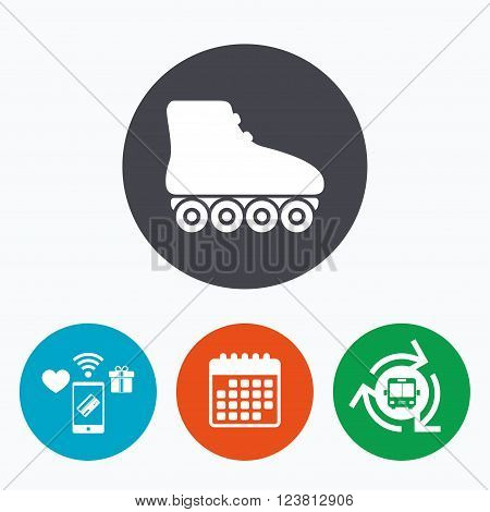Roller skates sign icon. Rollerblades symbol. Mobile payments, calendar and wifi icons. Bus shuttle.