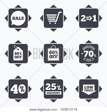 Icons with direction arrows. Sale discounts icon. Shopping cart, coupon and low price signs. 25, 40 and 60 percent off. Special offer symbols. Square buttons.