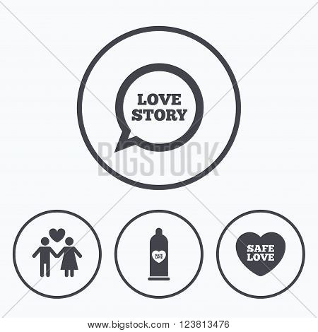 Condom safe sex icons. Lovers couple signs. Male love female. Speech bubble with heart. Icons in circles.