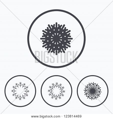 Snowflakes artistic icons. Air conditioning signs. Christmas and New year winter symbols. Frozen weather. Icons in circles.