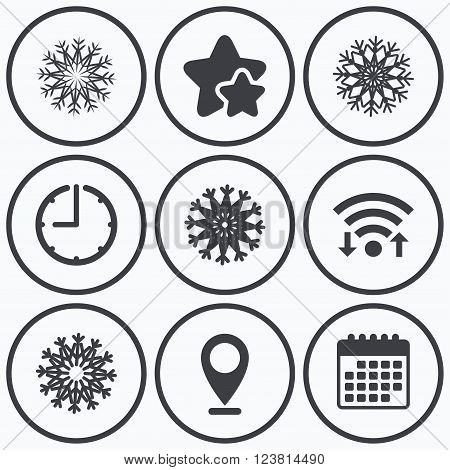 Clock, wifi and stars icons. Snowflakes artistic icons. Air conditioning signs. Christmas and New year winter symbols. Frozen weather. Calendar symbol.