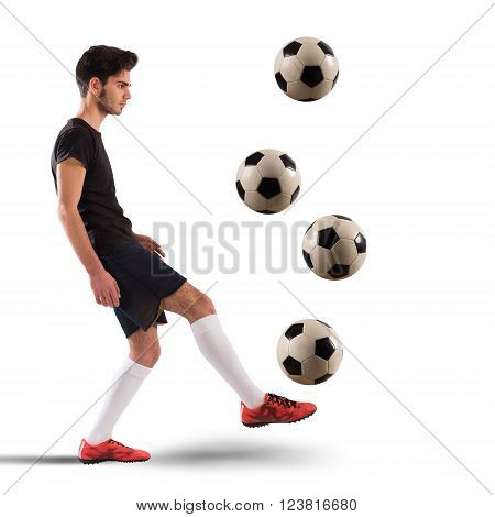 Teenage soccer player dribbling with four soccerball