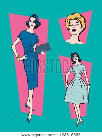Retro 1950s Women. Set of three vector illustrations of classic, mid-century 1950s women.