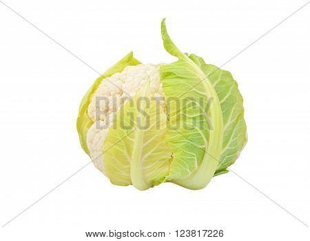 Whole ripe cauliflower isolated on white background