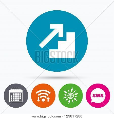 Wifi, Sms and calendar icons. Upstairs icon. Up arrow sign. Go to web globe.