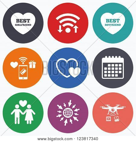 Wifi, mobile payments and drones icons. Valentine day love icons. Best girlfriend and boyfriend symbol. Couple lovers sign. Calendar symbol.