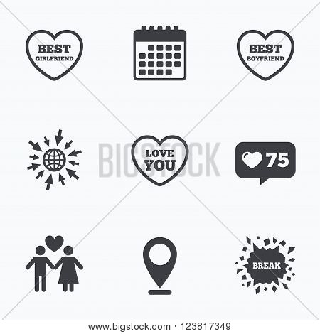 Calendar, like counter and go to web icons. Valentine day love icons. Best girlfriend and boyfriend symbol. Couple lovers sign. Location pointer.