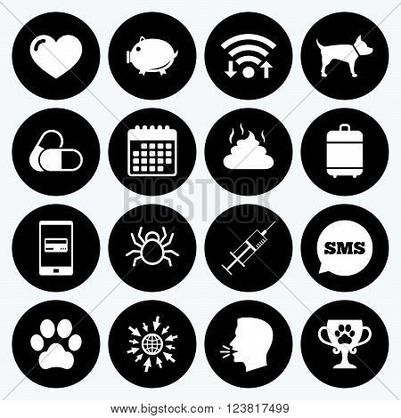 Wifi, calendar and mobile payments. Veterinary, pets icons. Dog paw, syringe and winner cup signs. Pills, heart and feces symbols. Sms speech bubble, go to web symbols.