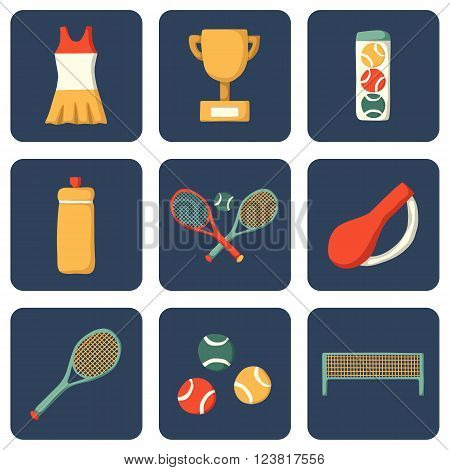 Set of cartoon tennis icons: court tennis racket cup bottle ball. Tennis championship concept