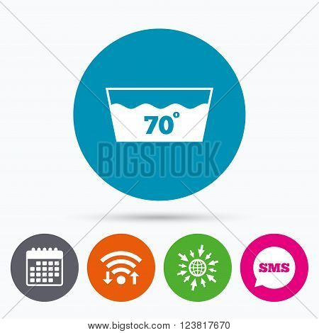 Wifi, Sms and calendar icons. Wash icon. Machine washable at 70 degrees symbol. Go to web globe.