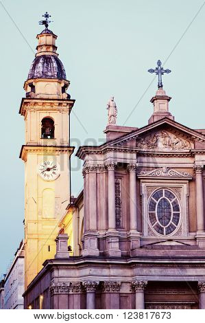 San Carlo Borromeo Church in Turin. Turin Piedmont Italy