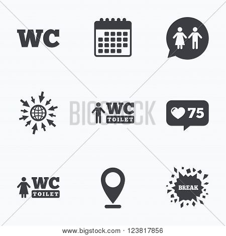 Calendar, like counter and go to web icons. WC Toilet icons. Gents and ladies room signs. Man and woman speech bubble symbol. Location pointer.