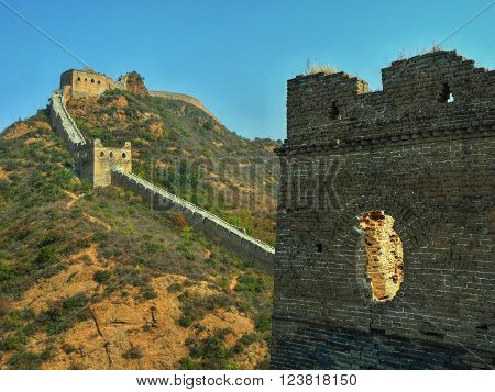 The Great wall and its watchtower, China.