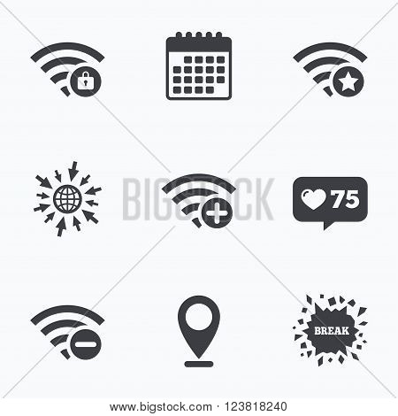 Calendar, like counter and go to web icons. Wifi Wireless Network icons. Wi-fi zone add or remove symbols. Favorite star sign. Password protected Wi-fi. Location pointer.