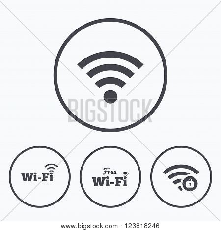 Free Wifi Wireless Network icons. Wi-fi zone locked symbols. Password protected Wi-fi sign. Icons in circles.