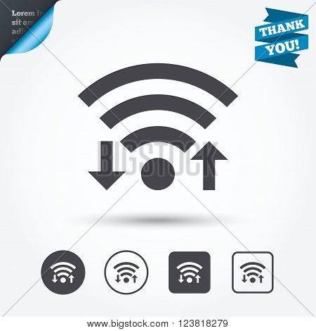 Wifi signal sign. Wi-fi upload, download symbol. Wireless Network icon. Internet zone. Circle and square buttons. Flat design set. Thank you ribbon.