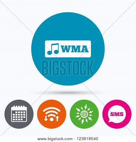Wifi, Sms and calendar icons. Wma music format sign icon. Musical symbol. Go to web globe.
