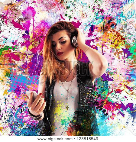 Girl listening to music on colored background