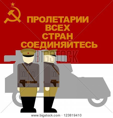 Red Flag, the symbol of the revolution in Russia and the driver of an armored car of the October Revolution in Russia. The illustration on a white background.