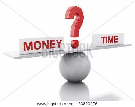 3D Illustration. Seesaw balance between money and time. Business concept. Isolated white background.