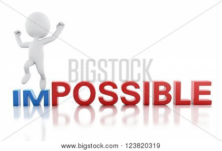 3D Illustration. word impossible turning into possible. Business concept. Isolated white background.