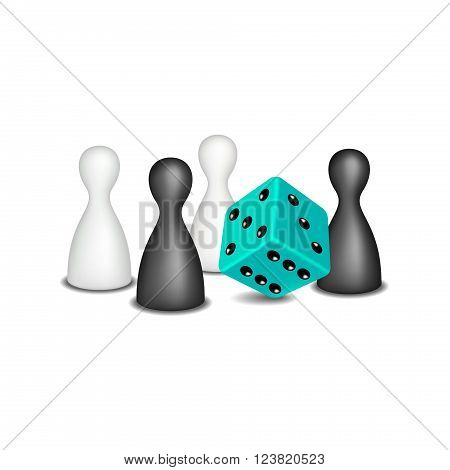 Board game figures in black and white design and turquoise dice on white background