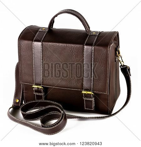 A vintage brown bag on white background