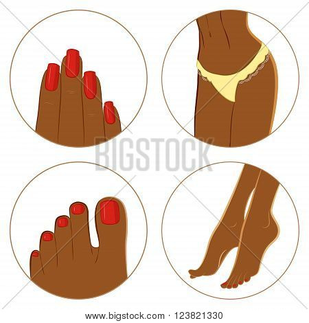Manicure pedicure and body care vector icon set. Pack of 4 icons for spa procedures. Dark skin female body parts. Isolated on white background