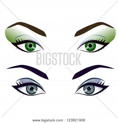 Set of realistic cartoon vector female eyes and brows with fashion make up. Green and grey eyes and brows design element body parts isolated on white background. Eyes close up