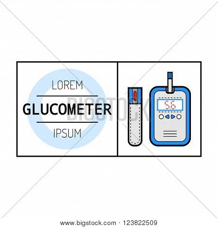 Glucometer and test strip for determination of glucose. Label, color flat icon, medical equipment for diabetics. Vector illustration