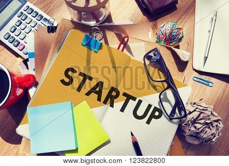 Stationary Office Desk Messy Inspiration Start up Concept