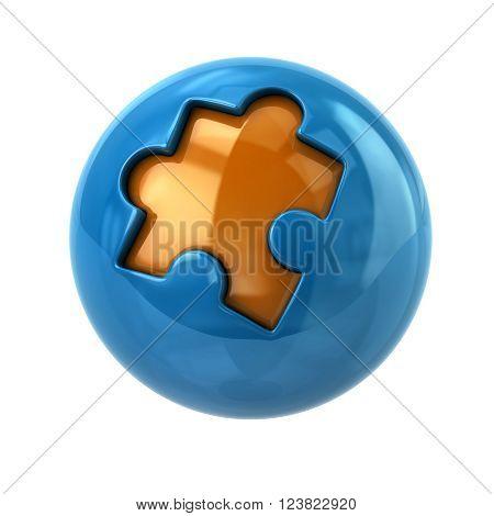 Blue and orange puzzle sphere icon isolated on white background