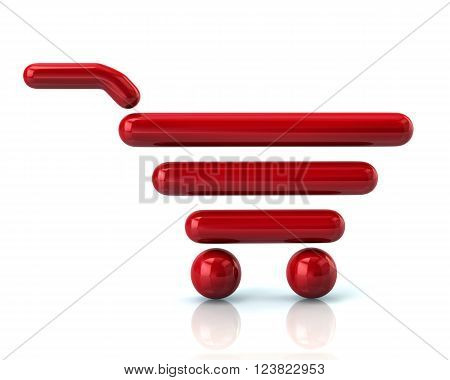 Illustration of red shopping cart isolated on white background