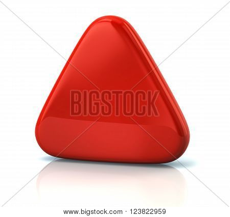Red triangle button isolated on white background