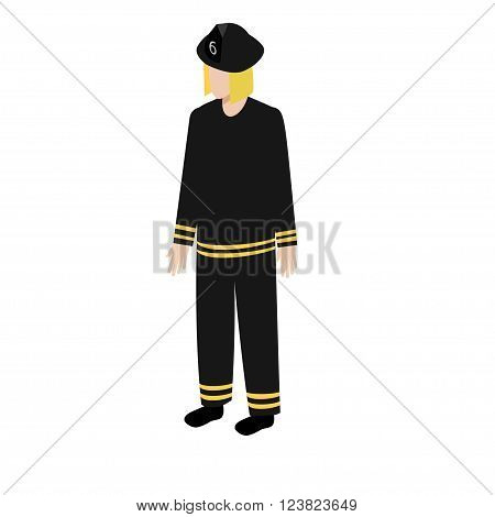 Fireman in uniform in isometric style for infographic and game design
