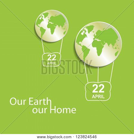 Symbol of earth on sweet green background balloon greeting card Flat design Happy Earth Day. can be add text. vector illustration