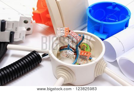 Components for use in installations and rolls of electrical diagrams copper wire connections in electrical box accessories for engineering work energy concept