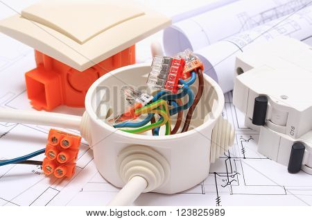 Components for use in installations and electrical diagrams copper wire connections in electrical box accessories for engineering work energy concept