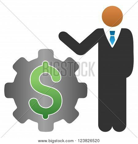 Industrial Businessman vector toolbar icon for software design. Style is a gradient icon symbol on a white background.