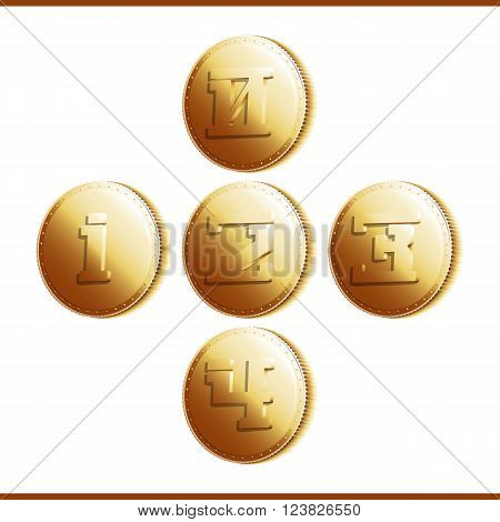 Golden coins with numerals isolated on white background - part 1. Vector illustration 10 EPS