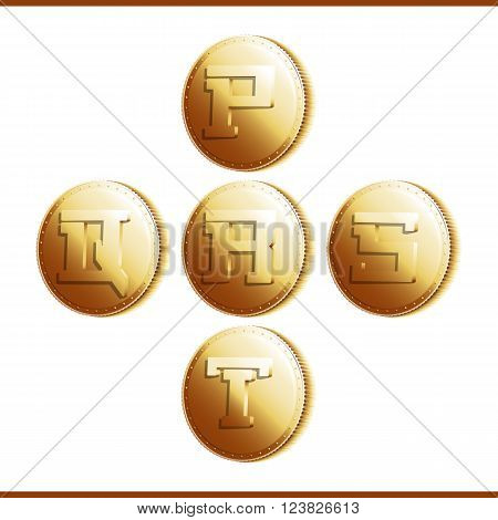 Golden coins with roman letters isolated on white background - part 4 (P - T). Vector illustration 10 EPS