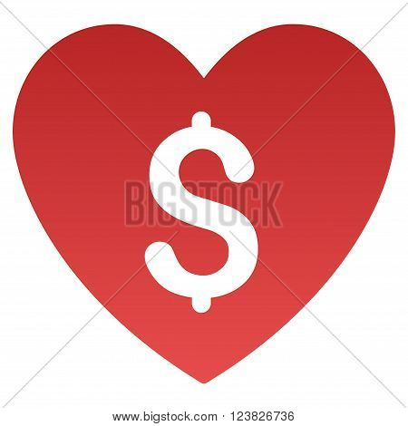 Paid Love vector toolbar icon for software design. Style is a gradient icon symbol on a white background.
