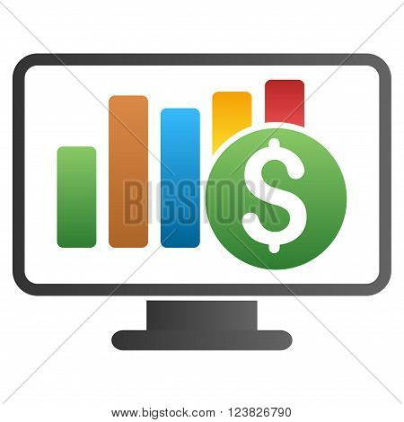 Stock Market Monitoring vector toolbar icon for software design. Style is a gradient icon symbol on a white background.