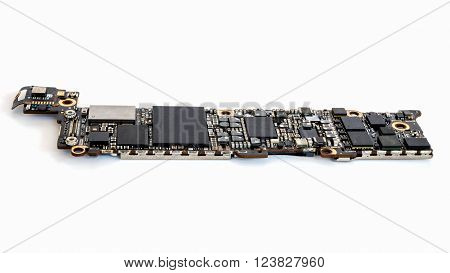 Smart phone circuit board isolate on white background Selective Focus Copy Space