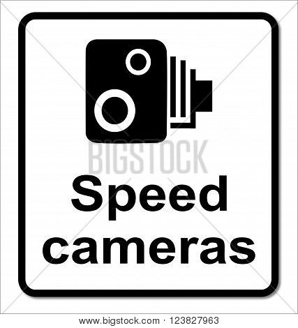 A traditional speeding cameras sign over a white background