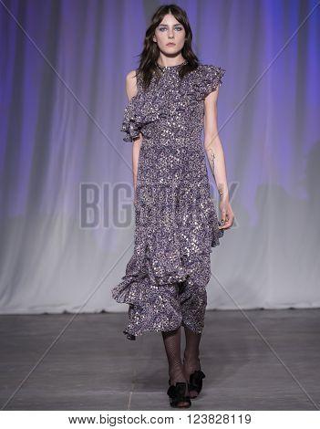 New York City USA - February 13 2016: Amba Baker walks the runway during the Jill Stuart Women's show as a part of Fall 2016 New York Fashion Week