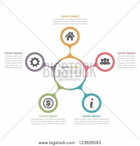 Circle diagram with five elements with icons and text, flow chart template, business infographics, vector eps10 illustration
