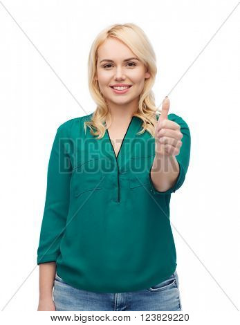 female, gender, gesture, plus size and people concept - smiling young woman in shirt and jeans showing thumbs up